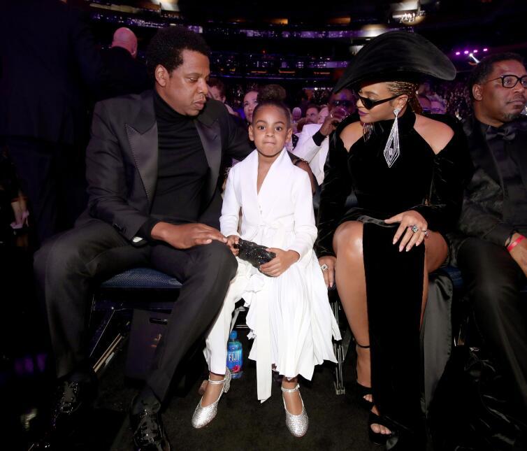 Blue Ivy Carter y sus padres Beyonce y Jay Z
