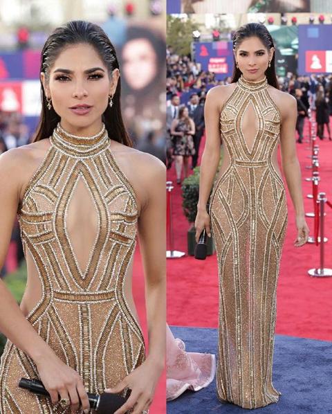 Alejandra Espinoza modeló un vestido tipo columna con cuello halter y ab...
