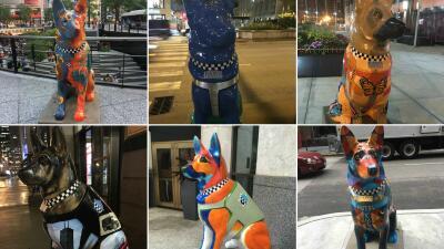 Más 100 esculturas de perros policías embellecen las calles de Chicago