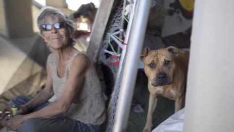 María Romero y su mascota, en un campamento de personas sin hogar...