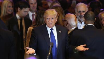 Donald Trump después de ganar la primaria en Nueva York, abril 19...