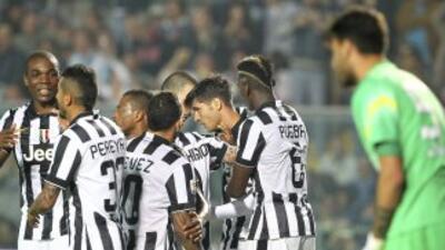 Juventus celebra su triunfo ante Atlanta.