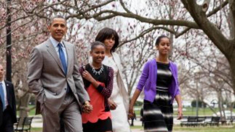 El presidente de Estados Unidos, Barack Obama, acompañado de su familia.
