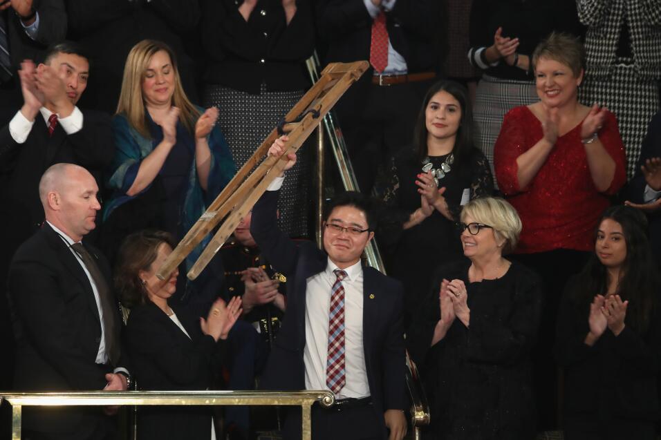Seong-ho, un desertor norcoreano es reconocido durante el discurso del E...