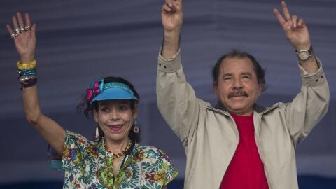 Daniel Ortega y Rosario Murillo en un evento en Managua, Nicaragua. (Ima...
