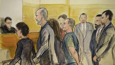 Un dibujo donde 'El Chapo' Guzmán comparece ante el juez
