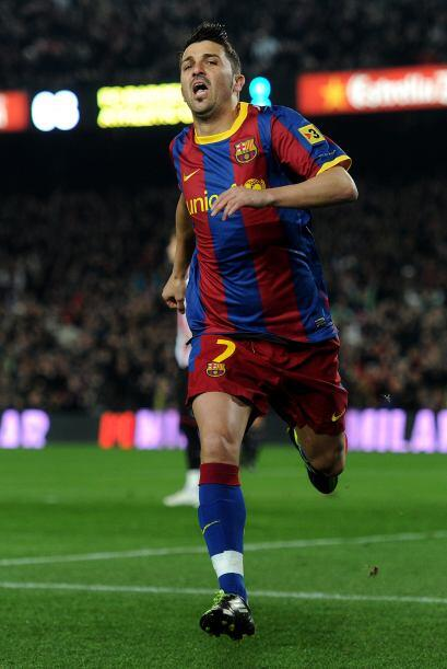 El goleador David Villa culminó una excelente jugada colectiva que signi...
