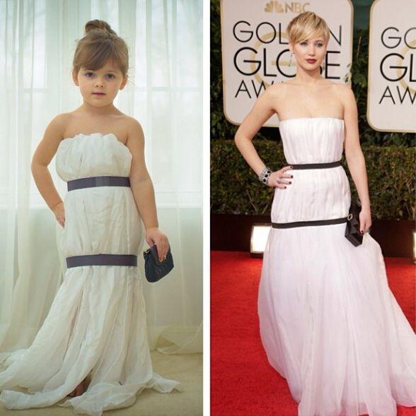 Vestido de Jennifer Lawrence en los Globos de Oro.   Crédito: Instagram....