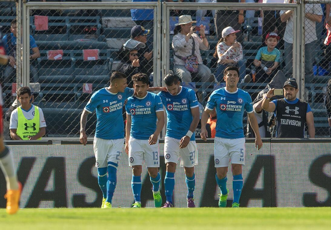 ¡Funcionó la Bruja! Cruz Azul venció 2-1 a Chivas Angel Mena celebra gol...
