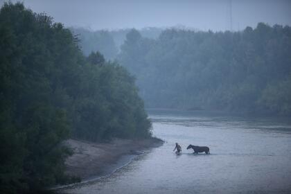 <b>Mision, Texas.</b> Un hombre pasa al lado mexicano del Río Bravo, luego de lavar su caballo del lado estadounidense.