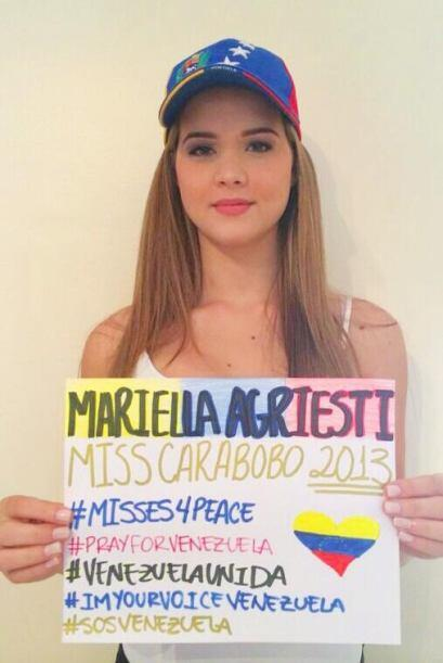 Mariella Agriesti, Miss Carabobo 2013, pide la paz para su país. Fotogra...