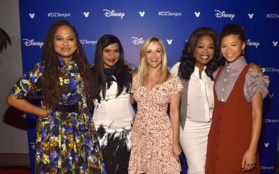 Director Ava DuVernay poses alongside some of her superstar cast, includ...
