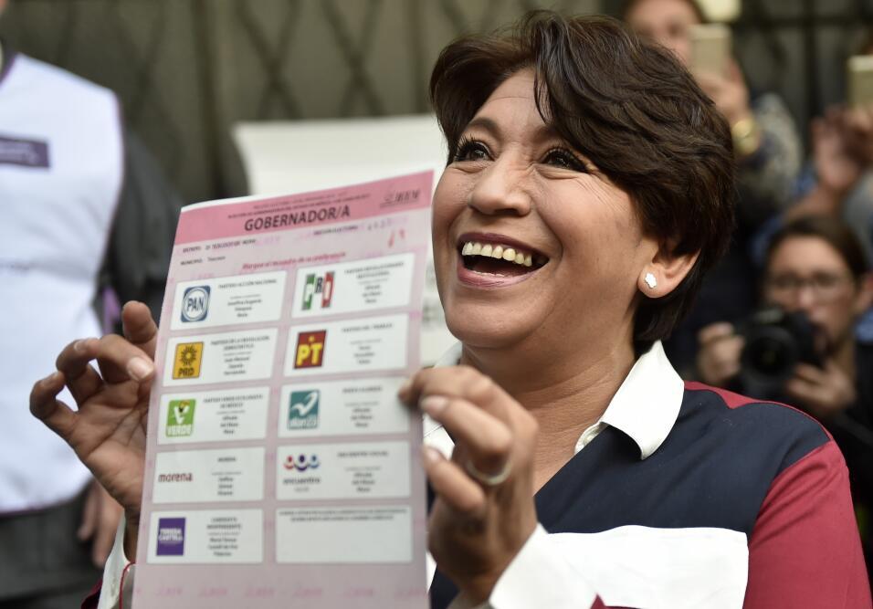 La gobernadora Delfina Gómez, del Movimiento de Regeneraci&oacute...