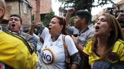 Los partidarios del 'no' celebran la victoria en el plebiscito d...