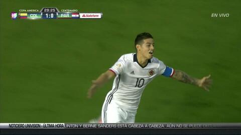 Goooolll!! James David Rodríguez Rubio mete el balón y marca para Colombia