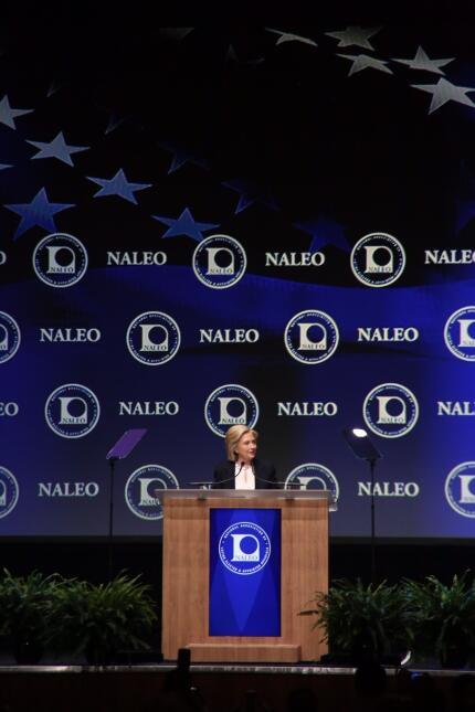 La aspirante a la candidatura presidencial de EEUU participó en la confe...