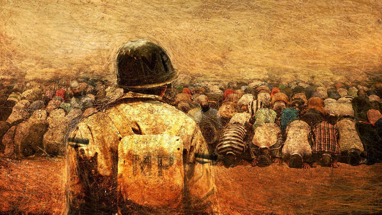 Ilustración del Coronel Claudio observando a detenidos iraquíes en Tal Afar