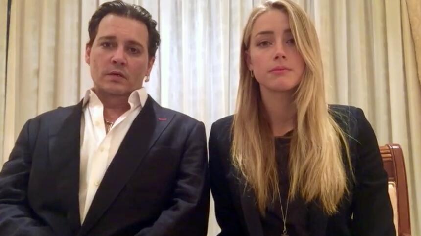 ARCHIVO - Johnny Depp y su esposa Amber Heard en un video de disculpa tr...