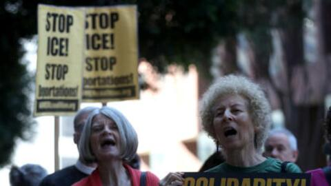 Protesters outside the ICE office in San Francisco, calling for the rele...