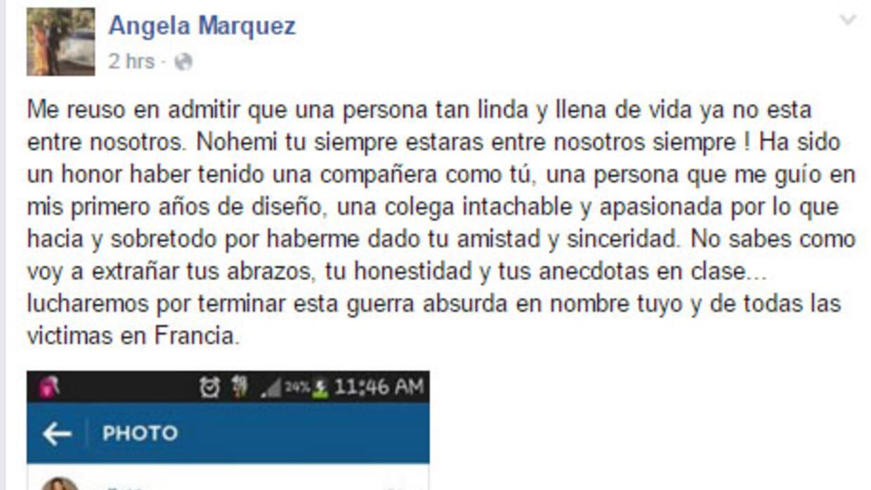 Angela Marquez, amiga de Nohemí González la joven fallecida en París, ex...