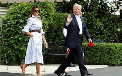 Donald Trump, Melania y Barron por primera vez en Camp Davis.