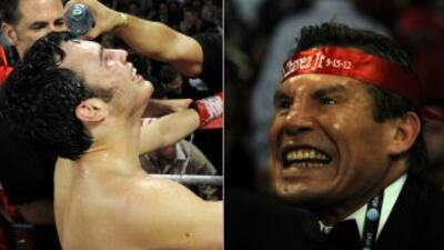 Julio César Chávez Jr. y Julio César Chávez durante la pelea contra Serg...