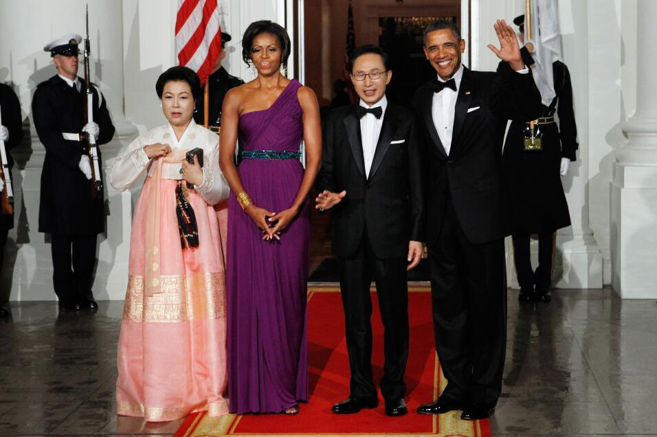 At the 2011 state dinner for South Korea wearing Doo.Ri.