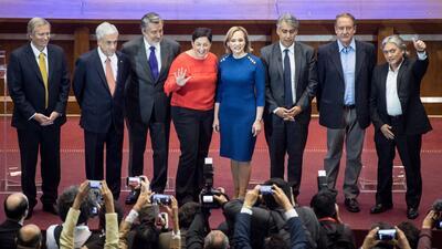 Los ocho candidatos presidenciales en una imagen de septiembre de 2017;...