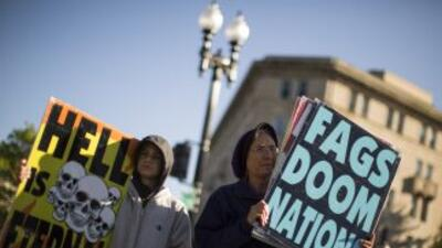 Manifestantes contra el matrimonio igualitario en Washington.