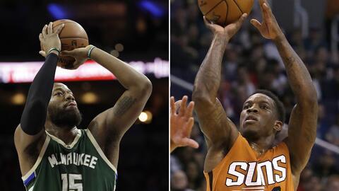 ARCHIVO -  En la foto de la izquierda, el jugador de los Bucks, Greg Mon...