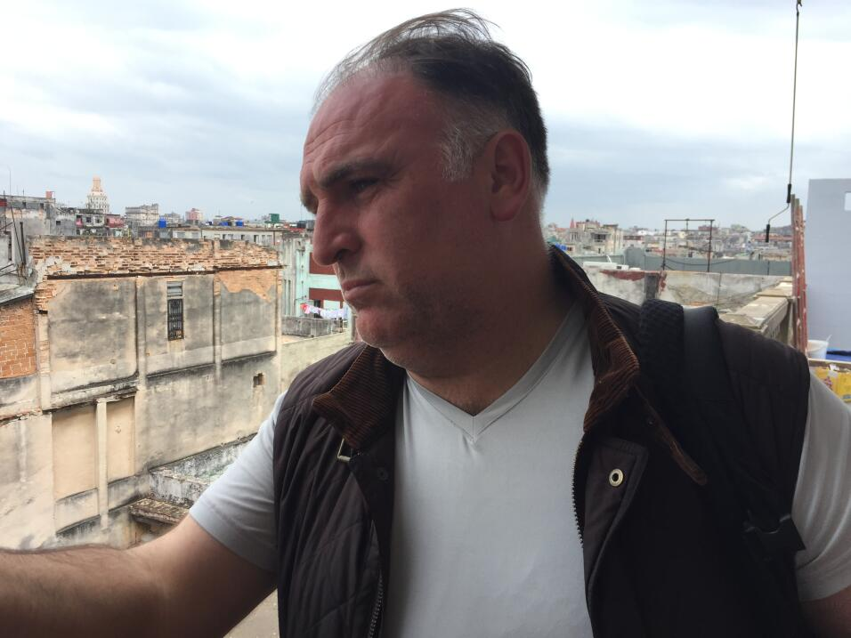 Chef José Andrés on the rooftop of La Guarida private restaurant in Cent...