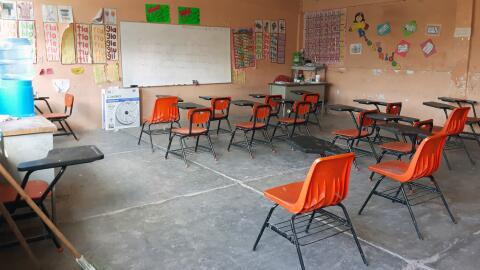 El aula de clases en una escuela de sureño estado mexicano de Gue...