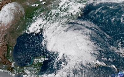 Vista satelital de la tormenta subtropical Alberto