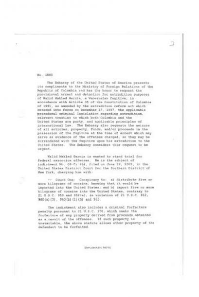 Nota enviada por el gobierno de Estados Unidos al de Colombia solicitand...