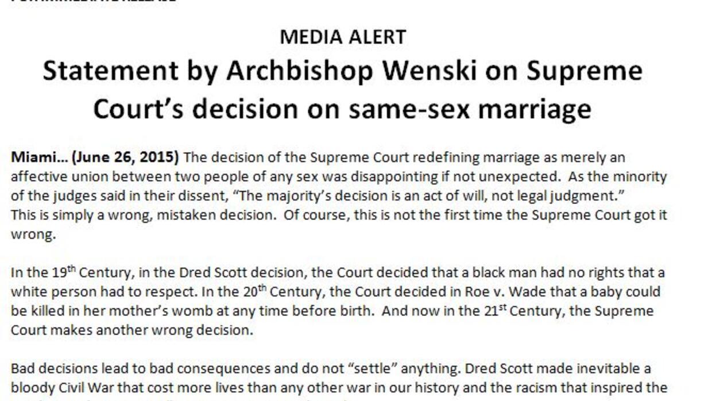 Comunicado de la Arquidiósesis de Miami sobre el matrimonio gay