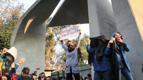 Imágenes de las manifestaciones en Teherán, el 30 de dicie...