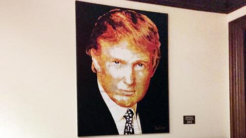 Trump's portrait hanging at the Trump National Doral Resort in Miami...