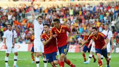 Rodrigo celebra el primer gold e España.