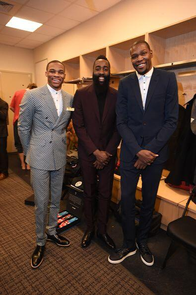 Russell Westbrook, James Harden y Kevin Durant de la Conferencia Oeste A...