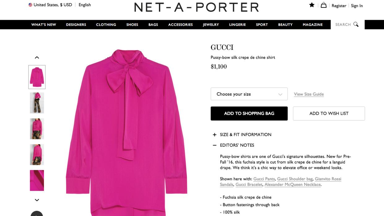 Así se ve en la página Net-a-porter la blusa de Gucci que llevó Melania...