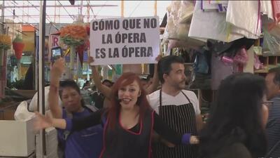 Ópera en el mercado, una sorpresa para vendedores y clientes en Ciudad de México