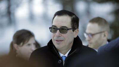 Steven Mnuchin, secretario del Tesoro de EEUU, en Davos, Suiza.