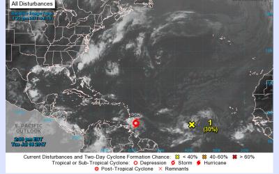 Una imagen de la posición de la tormenda Don en el Océano...