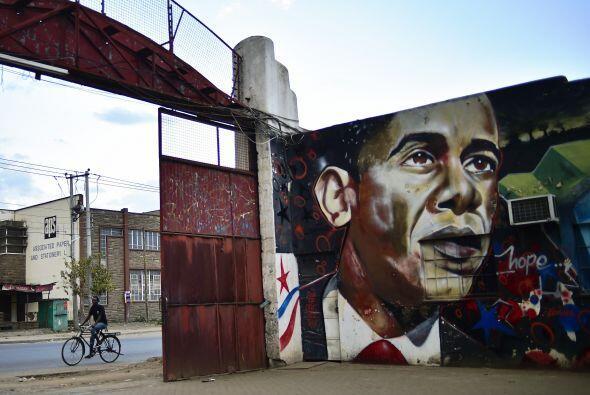 Un grafiti con el rostro del presidente Obama en Nairobi.