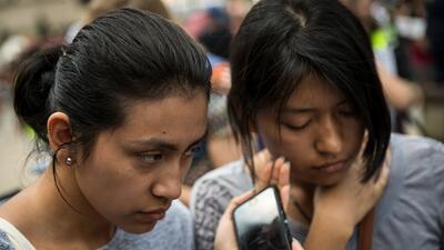 Inmigrantes indocumentados durante una manifestación en Washington DC.