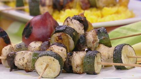 Receta de Pinchos de Pollo asado con duraznos