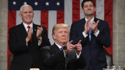 El presidente Donald Trump durante su primer discurso sobre el Estado de...