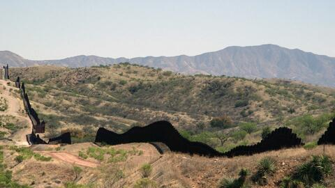 The border wall that divides Nogales, Arizona, and Nogales, Mexico.