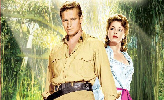 Charlton Heston y Eleanor Parker en 'Cuando ruge la marabunta'.