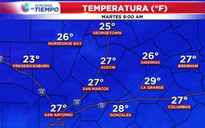 Bajas temperaturas para el área de Austin este martes.